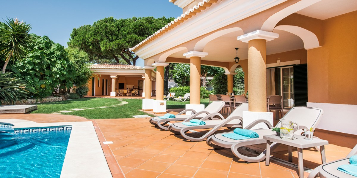 Comfortable Poolside Sitting Area Vacation Rental Villa Vale Do Lobo