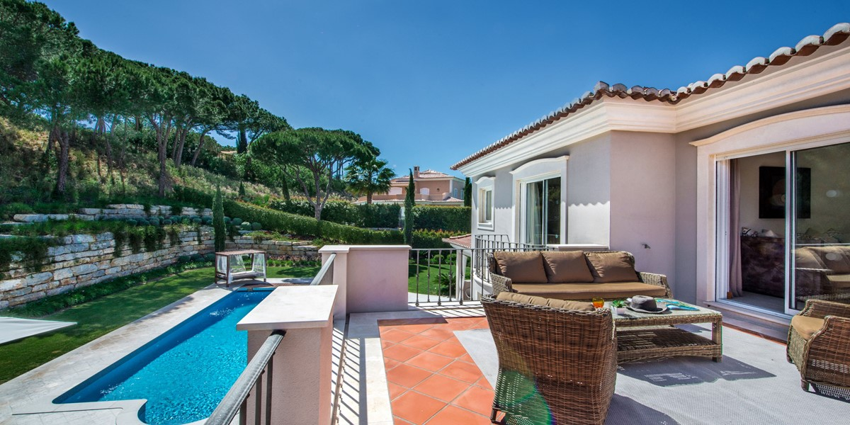 Terrace Overlooking Swimming Pool Vacation Villa Rental Quinta Do Lago