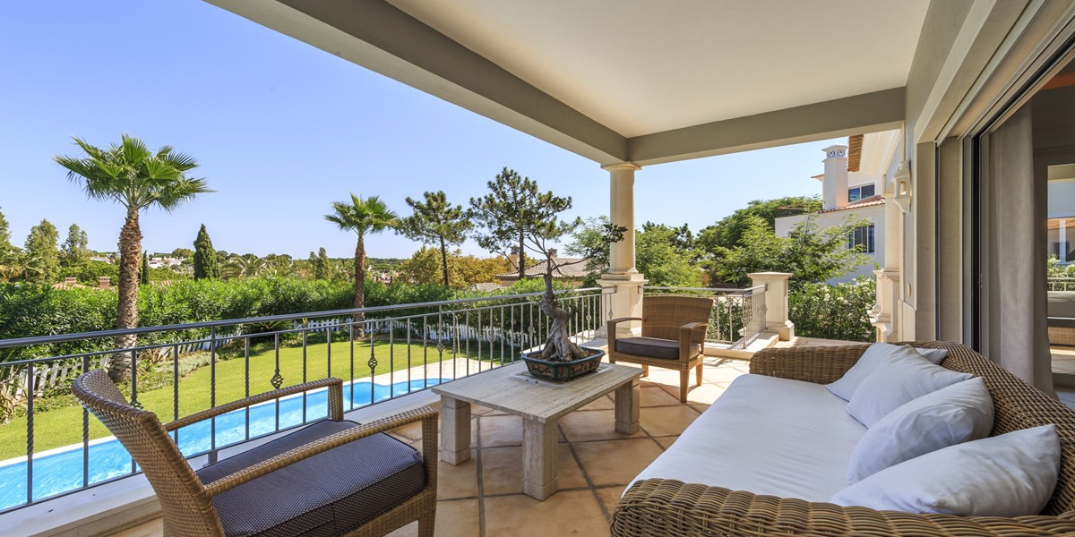 Seating Terrace Area Overlooking Swimming Pool Vacation Villa Rental Quinta Do Lago