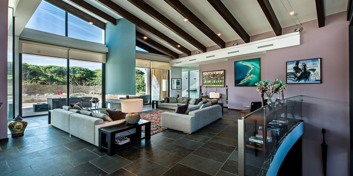 Bright Living Area With Vaulted Ceiling In Luxury Holiday Villa Portugal